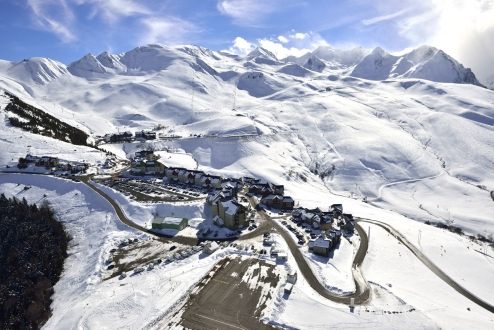 An aerial picture of Peyragudes village.  Hautes Pyrenees.
