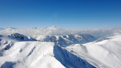 Mountain top panoramic.  Peyragudes, Hautes Pyrenees